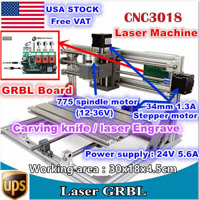 Usa3 Axis 3018 Diy Mini Cnc Laser Machine Grbl Control Pcb Milling Wood Router