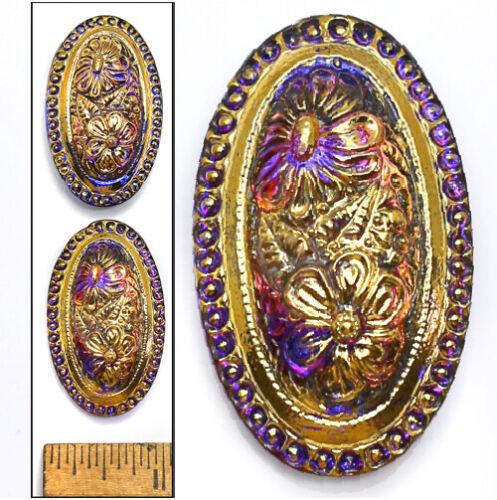 42mm FOCAL Vintage Czech Glass Nouveau PURPLE AB Flash OVAL FLOWER Buttons 2pc