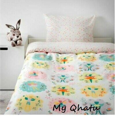 IKEA LATTJO Twin Duvet cover and pillowcase fairy, light pink NEW