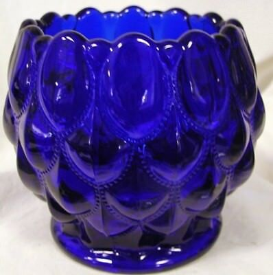 Rose Candy Dish - Candy Dish Rose Bowl - Elizabeth Quilted - Mosser USA - Cobalt Blue Glass