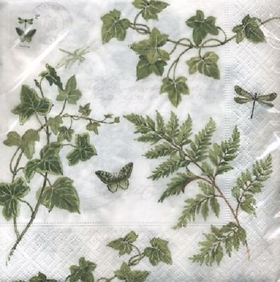 4 x Paper Napkins - Ivy & Fern - Ideal for Decoupage / Decopatch