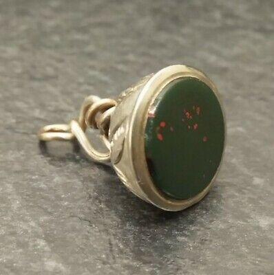 Antique Silver & Bloodstone Albert Pocket Watch Chain Seal Fob.