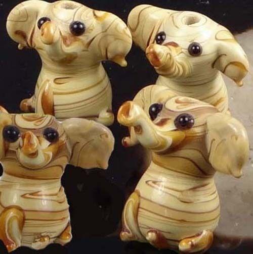6 Lampwork Handmade Glass Woodland Elephant Beads