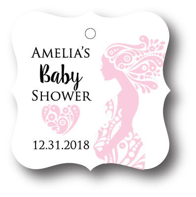 Mom Favors (24 Pregnant Mom with Baby Girl Shower Favor Tag Personalized with name and)