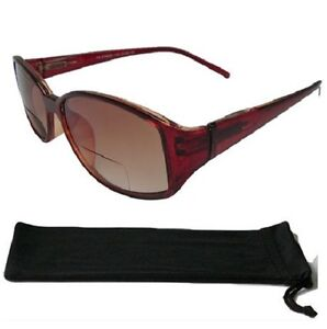 Bifocal-Tinted-Sunglasses-Brown-Frame-Spring-Hinges-Pouch-UV400-Sunreaders-417