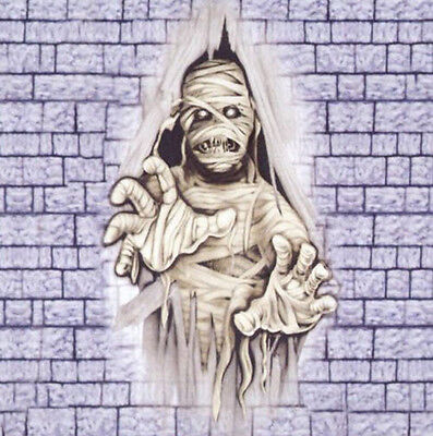 CRASHING MUMMY through wall Scene Setter Halloween Party wall - Halloween Wall Scene Setters