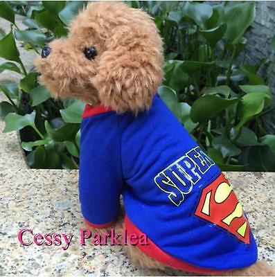 Superman Pet Dog Puppy Cat Superhero Justice League Costume Clothing S-XXL