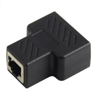 Network Adapter Connector ethernet LAN Splitter Cable Extender  RJ45 Plug 1 to 2