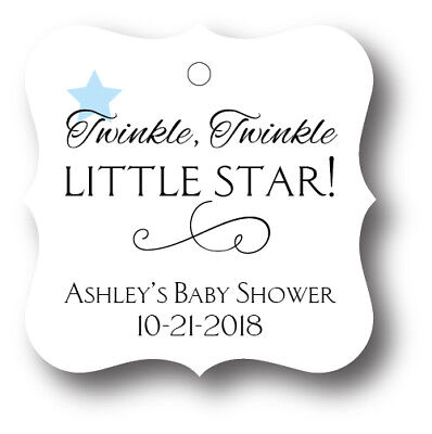 24 Twinkle Twinkle Little  Star Baby Boy Shower Favor Tag Personalized