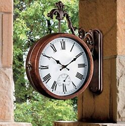 Outdoor Clock Thermometer Double Sided Train Station Style Antique Style 13