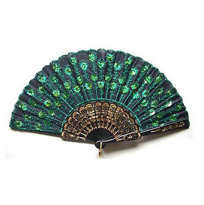 Hand Held Fan Chinese Folding Sequins Peacock Tail Wedding Party Decor Fan