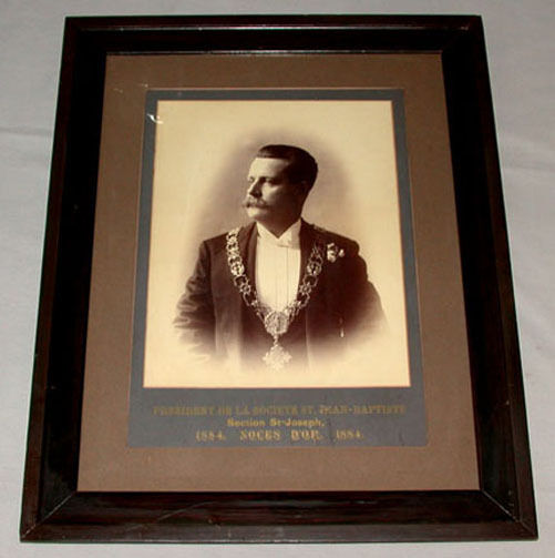 Original Quebec 1884 Saint Jean-Baptiste Society President Framed Photo