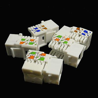 100 pack lot Keystone Jack Cat5e white Network Ethernet 110 Punchdown 8P8C RJ45