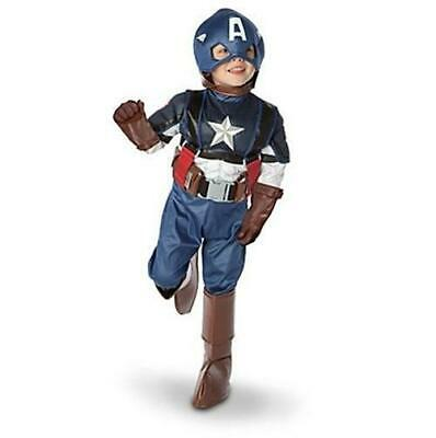 America Boot Covers (CAPTAIN AMERICA BOYS COSTUME 10/12 NEW DISNEY STORE Gloves Mask Boot Covers Belt )