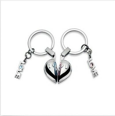I LOVE YOU Sound Half a Heart Design Metal Couple Lover Key Chain Ring KC1