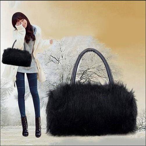 New Women Ladies Handbag Shoulder Faux Fur Satchel Tote Hobo Bag Purse Wallet