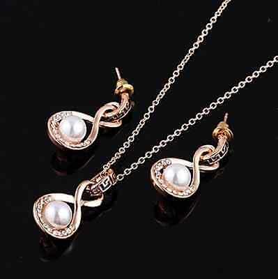 Elegant Luxury Imitation Pearl Jewelry Set Necklace/Earrings Infinity Design (Designer Eternity Jewelry Set)
