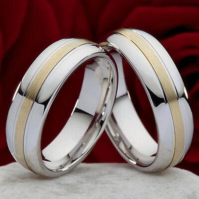 2 Eheringe Trauringe Verlobungsringe aus 925 Silber & 585 Gold+ Ringgravur SO25