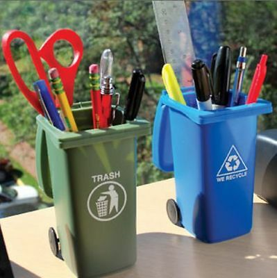 The Mini Curbside Trash & Recycle Can Set - Awesome Pen/Pencil Holder with lids