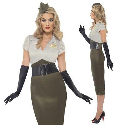 Ladies WW2 Army Pin Up Girl Fancy Dress - Pin Up Army Girl Kostüm