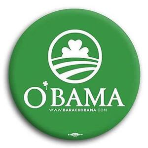Irish St Patrick's Day Green Barack Obama Democratic Progressive Button 2 1/4