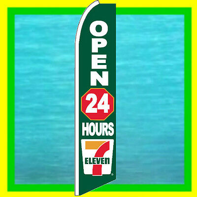 7 Eleven Open 24 Hrs Banner Ad Flag Advertising Sign Feather Swooper Bow Flutter