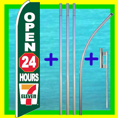 Seven 7 Eleven Open 24 Hours 15 Feather Flag Kit Swooper Bow Banner