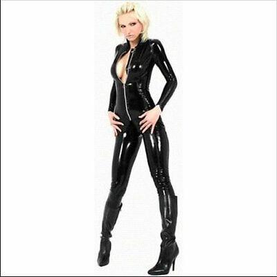 Black Faux Vinyl Long Sleeve Zip Bodysuit Underworld Cat Woman Comic-con Catsuit Vinyl Long Sleeve Catsuit