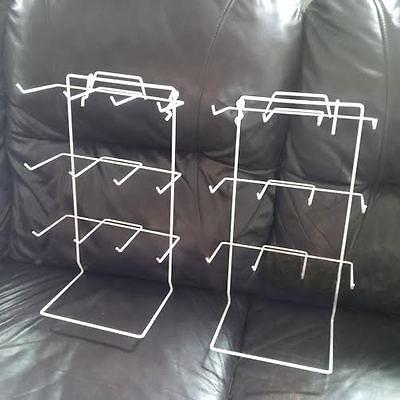 12 Peg Hook Counter Top Display Rack In White - Pack Of 2