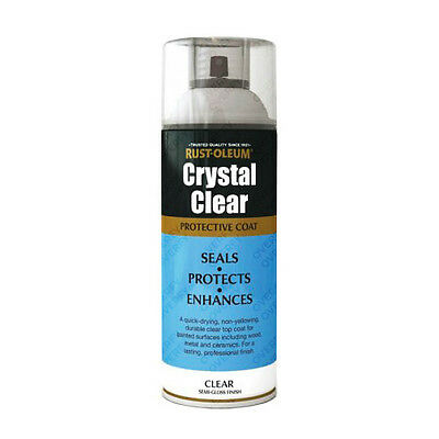 x3 Rust-Oleum Crystal Clear Multi-Purpose Spray Paint Lacquer Coat Semi-Gloss - Rust Oleum Semi Gloss
