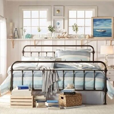 King Size Antique Style Dark Bronze Victorian Metal Iron Bed Frame Beds Bedroom King Size Traditional Bed Frame