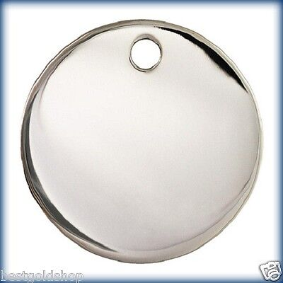 (17mm Engravable Round Disc Charm Pendant High Polish 925 Sterling Silver 2.7gr)