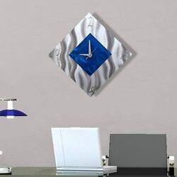 Statements2000 Metal Wall Clock Art Silver Blue Modern Accent Decor Jon Allen