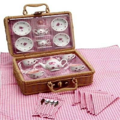 Butterfly Tea Set Basket Toy Game Kids Play Gift 23 Pcs In This Porcelain Set ()