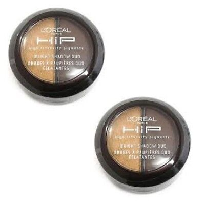 2 Loreal HIP Bright Eye Shadow Duo # 864 Bustling 0.08 oz each (Sealed)