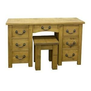 SOLID-WOODEN-COMPUTER-DESK-DRESSING-TABLE-STOOL-RUSTIC-PLANK-PINE-FURNITURE
