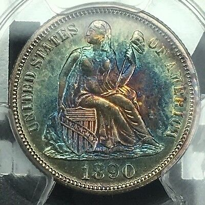Click now to see the BUY IT NOW Price! 1890   SEATED LIBERTY DIME   MS 63 PCGS   MONSTER TARGET 2 SIDED TONING TONED