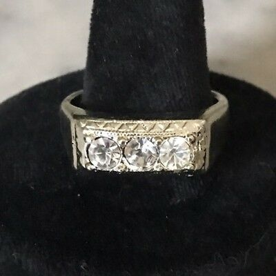 MEN'S 18KT H.G.E. Cubic Zirconia RING Statement Pave Cocktail Band Vintage Sz 12