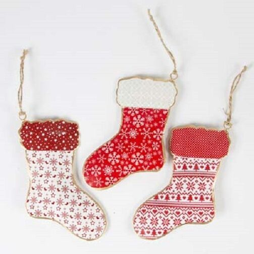 Three Fairisle Christmas Stocking Hanging Decorations With Red ...