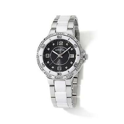 DRONE PRECISION TIMEPIECES WHITE CERAMIC BLACK DIAL STAINLESS STEEL WATCH HSN ()