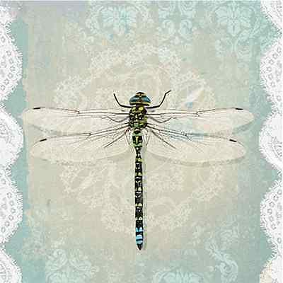 Dragonfly Serviette (20 Paper Lunch Napkins ROMANTIC DRAGONFLY Decoupage Craft Serviettes 33x33cm)