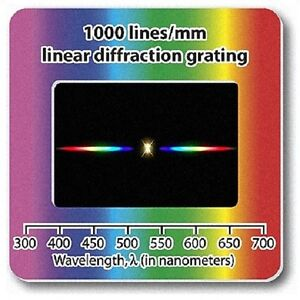 Diffraction-Grating-Slide-Holographic-Linear-1000-lines-mm-Lamp-Laser-Spectrum