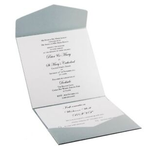 150mm Square Pocket Fold Invitation DIY - Silver Shimmer (Capped $15 Shipping)
