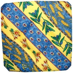 Lot de 4 galettes dessus de chaise proven ale tons jaune bleu - Galette de chaise provencale ...