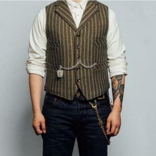 Retro Mens Fashion Short West Striped Lapel Western Sleeveless Jacket Wool Top | eBay