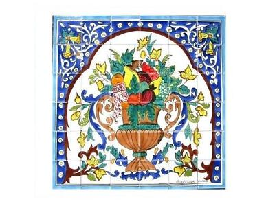 DECORATIVE CERAMIC TILES:MOSAIC PANEL HAND PAINTED KITCHEN WALL TILE 36in x 36in