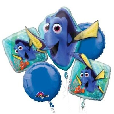Finding Dory 5pc Bouquet Birthday Party Foil Balloons Decorations - Dory Birthday