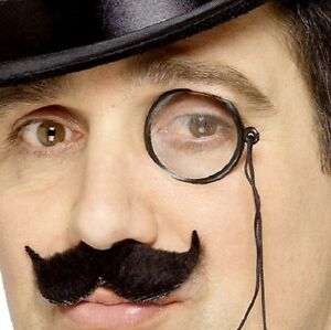 Smiffys-20s-1920s-Fancy-Dress-Monocle-with-Lense-Cord-Black-New