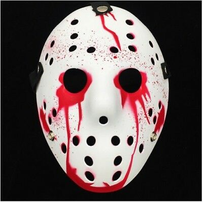 Ice Hockey Maske Halloween (Deluxe Hard Plastic Halloween Horror COSTUME MASK Ice-Hockey Design White/ Blood)