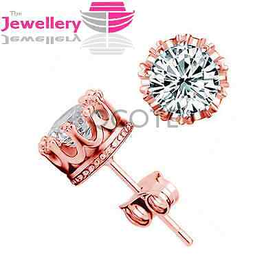Rose Gold Plated Stud Crown Round Crystal Earrings CZ Jewellery Womens Ladies